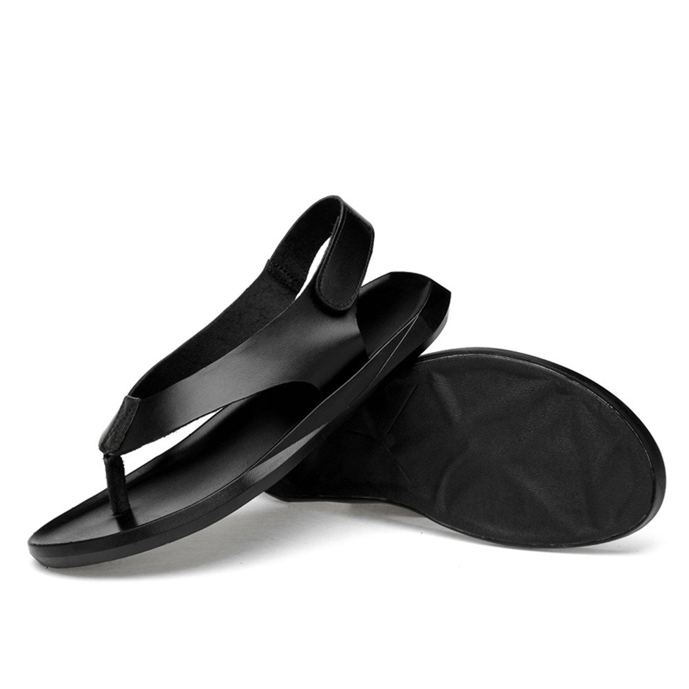 2018 NEW! Mens sandals Genuine Leather Beach Hook&Loop Slippers Casual Hook&Loop Beach Strap Closed Non-slip Sole Sandals Shoes (Color : Black, Size : 6MUS) 6MUS|Black B07D7V1GFK 17e0a8