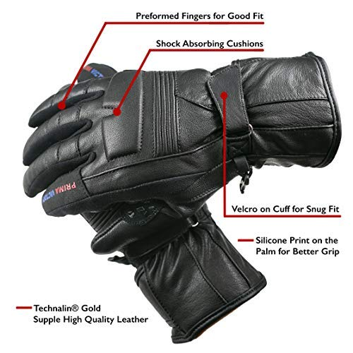 (LEO All-Season All Purpose Cowhide Leather Gloves for Men with EASA Foam Padded Knuckles (Black, XXL) )