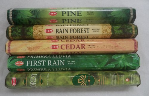 HEM Incense Forest Cedar Pine Rain Forest First Rain 5 x 20, 100 Sticks