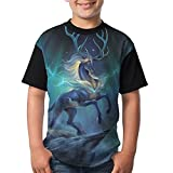 Elk Youth Boy's 3D Printed Short Sleeve Funny Round Neck T Shirt X-Small