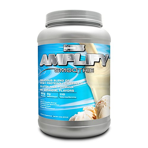 NDS Nutrition Amplify Protein Smoothie with Added Greens for Overall Health - Whey Protein and Naturally Occurring Amino Acids - Build Lean Muscle, More Strength, Lose Fat - Vanilla - 30 Servings