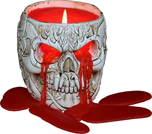 Spiral - Goth Skull - Scented Resin Candle Holder with Candle