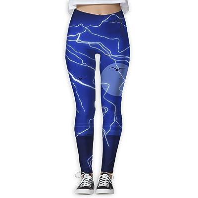 TWPDA Women's Skinny Sport Leggings Sunset Blue Lightning Yoga Pants Casual Gym Workout Leggings