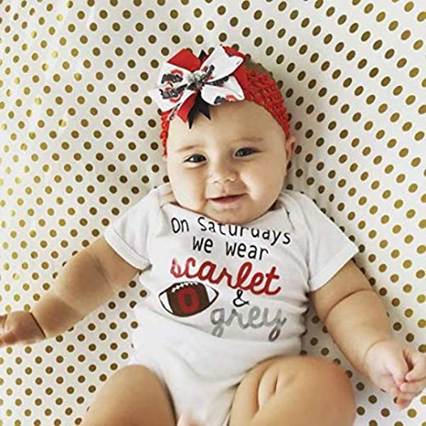 Girls Ohio State Hair Bows Set of 2 Toddler Ohio State Pig Tail Bows