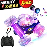 RC Rolling Stunt Car Remote Control Vehicle Car Toy Tornado Twister 360 Degree Spinning and Flips with Led Light for Kids (Blue)