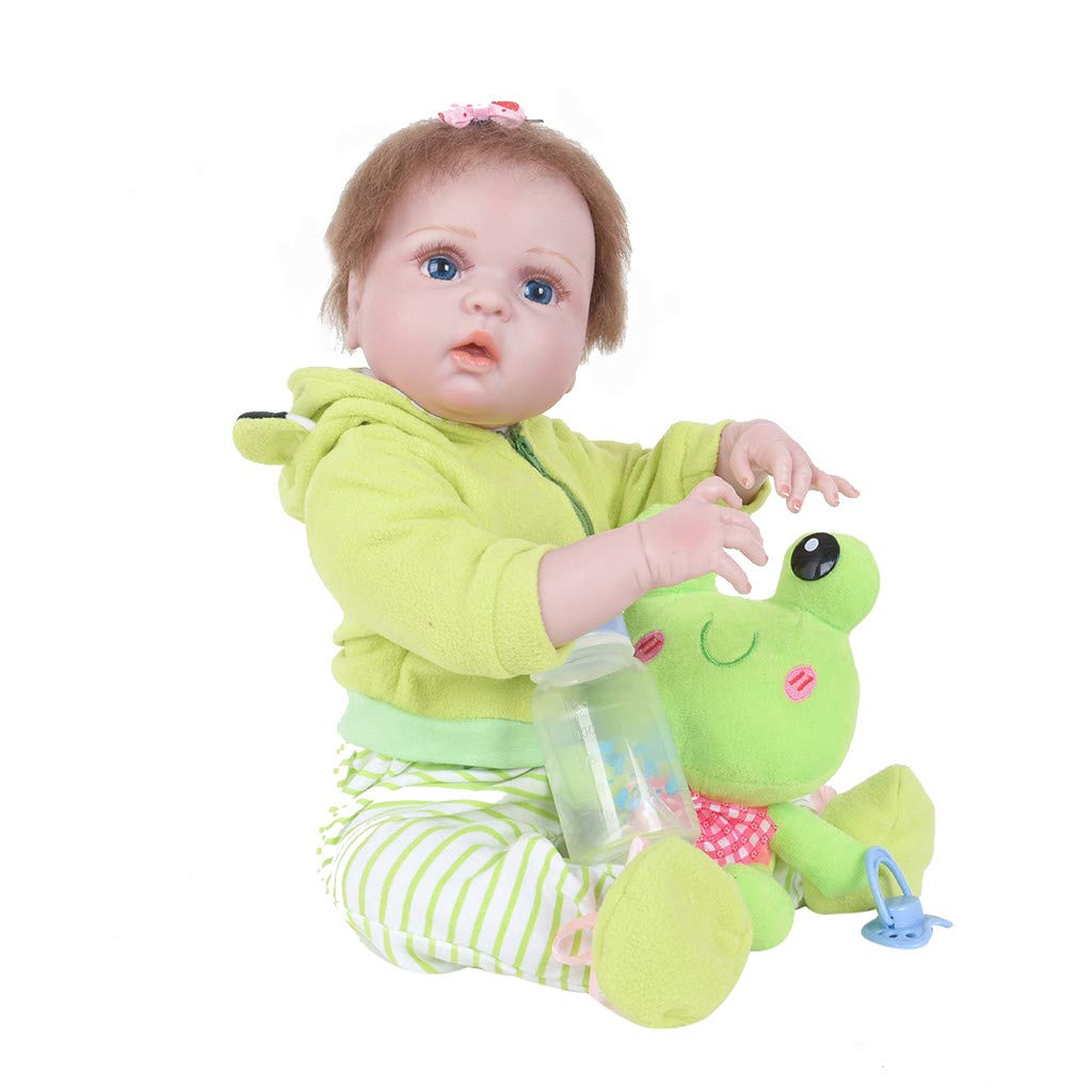 Lifelike Baby Doll,Lucoo Reborn Dolls Lifelike Newborn Princess Realistic Doll with Clothes Silicone Vinyl Soft Body 22inch Weighted Baby Doll Xmas Gift (Green) by Lucoo Baby