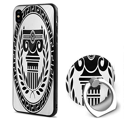 Toga Party iPhone x Cases,Hellenic Column and Laurel Wreath Heraldic Symbol with Olive Branch Graphic Black White,Mobile Phone Shell Ring Bracket