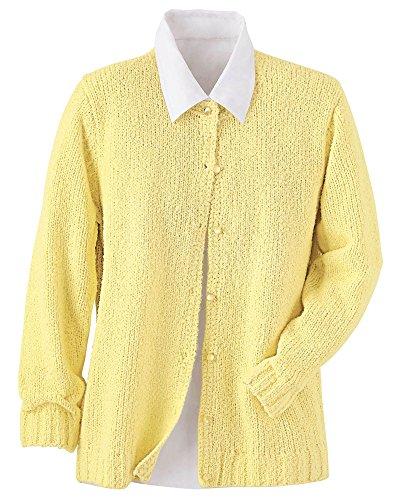 National Bouclé Cardigan Sweater, Yellow, Large
