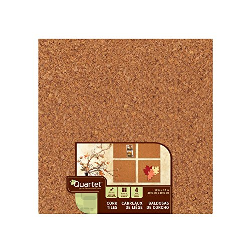 Quartet Cork Tiles, 12'' x 12'', Corkboard, Mini Wall Bulletin Boards, Natural, 80 Pack (108) by Quartet