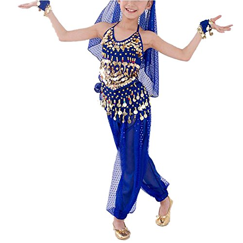 TOPTIE Kid's Belly Dance Girl Halter Top, Harem Pants, Halloween Costume Set-Navy Blue-L]()