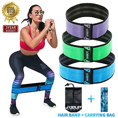 (Fabric Exercise Resistance Bands for Legs and Butt-Perfect Activate Glutes and Thighs - Hip Loop Bands Circle, Non-Rolling Thick Wide Workout Resistance Set of 3 for Women and Men)