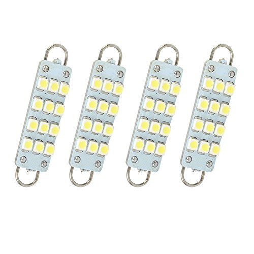 HOT SYSTEM™ Bright White LED Bulbs 12 SMD Festoon lights 42mm to 44mm Rigid Loop For Car Interior light Dome light Map light 4-pack