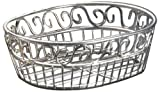"American Metalcraft (SSOC97) 6-3/4"" x 9"" Oval Stainless Steel Scroll Bread Basket"