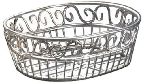 "American Metalcraft (SSOC97) 6-3/4"" x 9"" Oval Stainless Steel Scroll Bread Basket by American Metalcraft (Image #2)"
