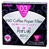 Hario V60 Paper Coffee Filters, Size 03, 40 Count, White