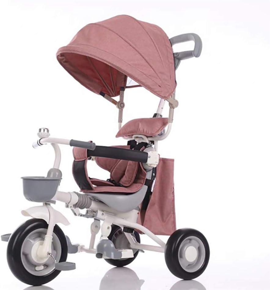 GHDE& Niños Dirección fácil Triciclo Calesa Paseante con Pedal de Tela Oxford y Ruedas silenciosas Ajuste de 6 Meses a 6 años XG6235