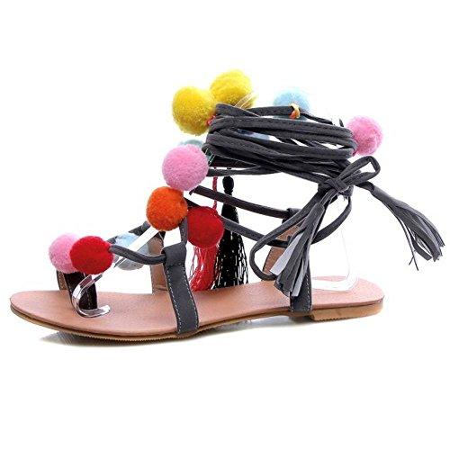 COOLCEPT Mujer Lindo Colored Ball Split Toe Cordones Leg Wrap Verano Gladiator Tacon de Vaquero Sandalias Gris