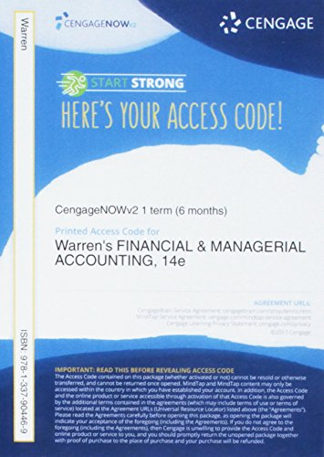 CengageNOWv2, 1 term Printed Access Card for Warren/Reeve/Duchac's Financial & Managerial Accounting, 14th