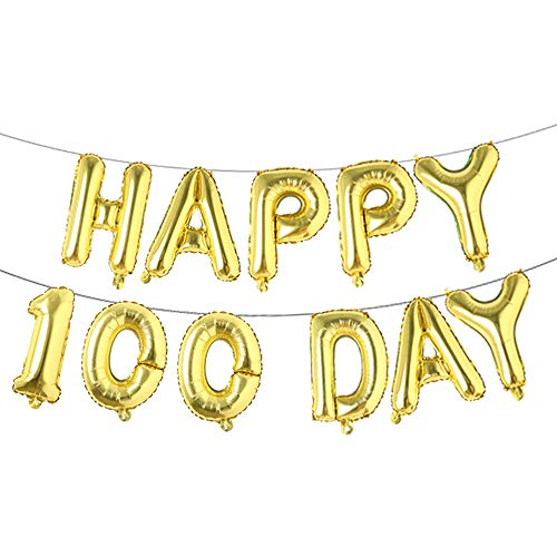 Alphabet Letters Foil Balloons Set Happy 100 Day Banner Baby Shower Birthday Party Decoration Supplies (Gold) -