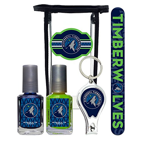 Minnesota Slippers Timberwolves - Minnesota Timberwolves NBA Manicure Pedicure Set with 7-Inch Nail File, Nail Clippers, 2 Nail Polishes in Team Colors, and Toiletry Bag for the Whole Kit.