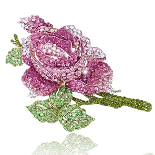 EVER FAITH Women's Crystal Enamel Romantic Blooming Rose Flower Leaf Brooch Pink Gold-Tone - Designer Diamante Pink Flower