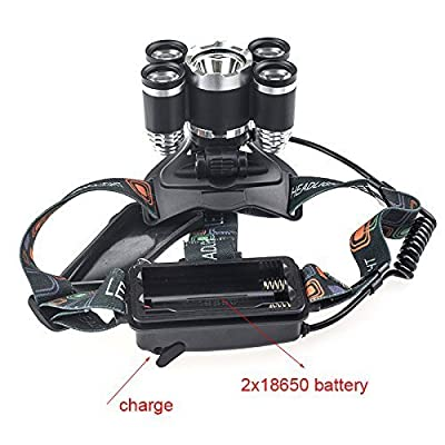 5 Led Bulbs Cree XML-T6 10000 Lumens Headlight + 4R5 4 Mode 18650 Rechargeable Waterproof Headlamp Super Bright Adjustable Headlamp for Outdoor Hiking Camping Riding Fishing Hunting