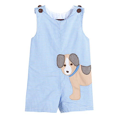Lil Cactus 34018020092 Boys Shortall Dog Blue ()