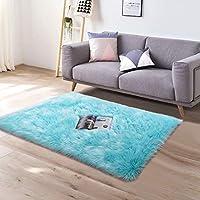 YJ.GWL Super Soft Faux Sheepskin Fur Area Rugs for Bedroom Floor Shaggy Plush Carpet Faux Fur Rug Bedside Rugs, 2 x 3...