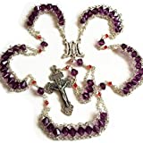 elegantmedical Ladder to Heaven Purple Crystal BEADS CATHOLIC ROSARY CROSS CRUCIFIX NECKLACE