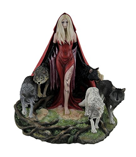 Veronese Resin Statues Howl By Ruth Thompson Twisted Tales Red Riding Hood W/Wolves Statue 8.25 X 9.5 X 8 Inches Red