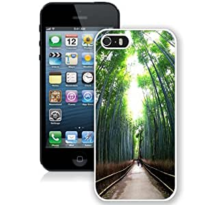 NEW Unique Custom Designed iPhone 5S Phone Case With Tall Trees Forest Path_White Phone Case