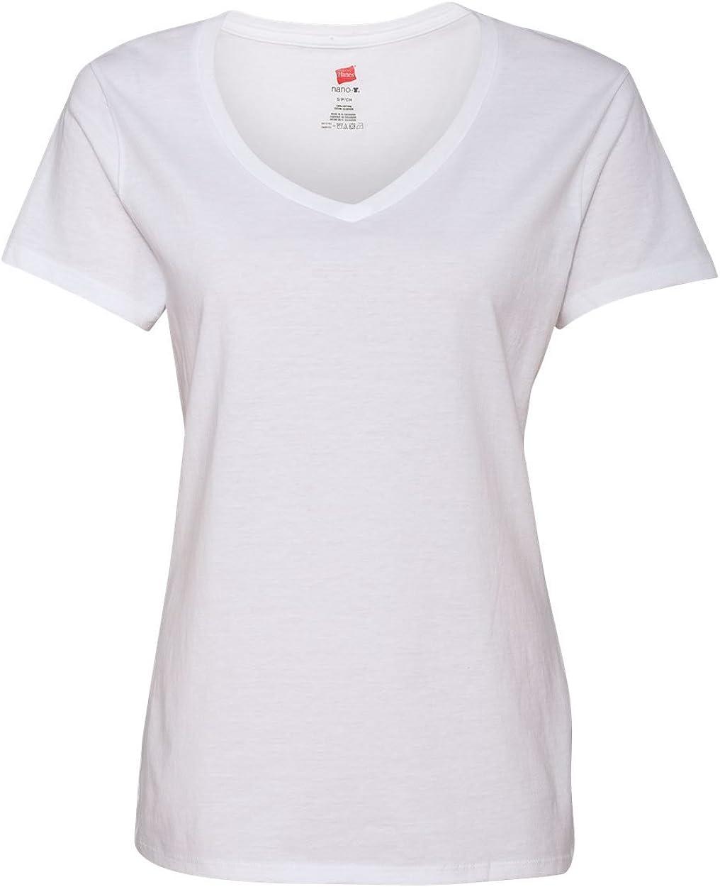 Hanes Women's Nano-T V-Neck T-Shirt at  Women's Clothing store