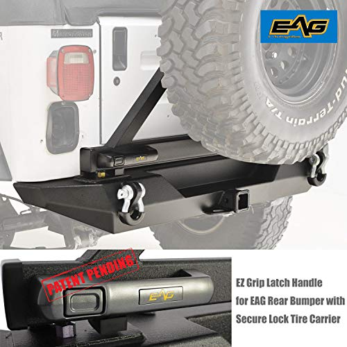 (EAG EZ Grip Rear Bumper With Secure Lock Tire Carrier for 87-06 Jeep Wrangler TJ YJ)