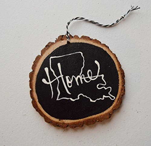 State pride Home Christmas ornament Wood Tree Slice Custom made any state by Greta's Handmade Gifts