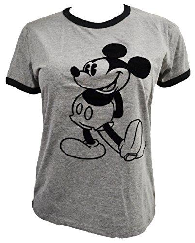 Heather Ringer Juniors T-shirt (Disney Women's Juniors Mickey Standing Velvet Design Ringer T-Shirt (M, Heather Gray))