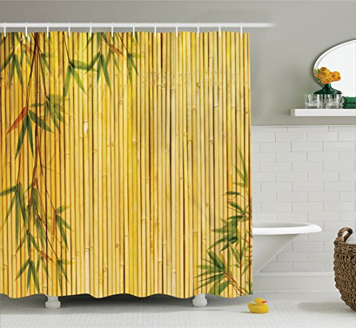 Amazon.com: Ambesonne Bamboo House Decor Collection, Light Golden ...