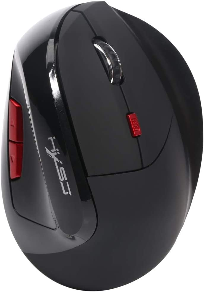 Color : Black HGWEI X60 2.4GHz 2400DPI Three-Speed Adjustable Rechargeable Vertical Wireless Optical Gaming Mouse Gaming Black