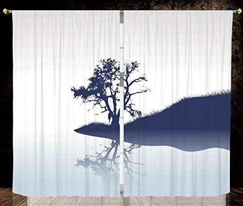 2 Panel Set Thermal Insulated Blackout Window Curtain,Nature Silhouette of Lonely Tree by Lake with Mirror Effects Melancholy Illustration Indigo Baby Blue,for Bedroom Living Room Dorm Kitchen Cafe by iPrint