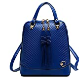 FTSUCQ Womens Tassel Diamond Lattice Totes Shoulder Bags Backpack Travel Daypack Blue Satchels
