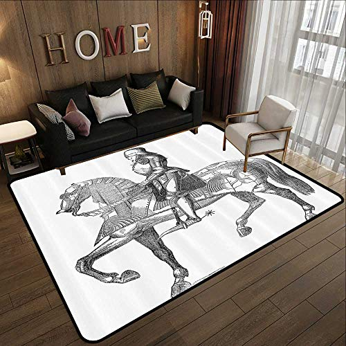 Silky Smooth Bedroom Mats,Medieval Decor Collection,Retro Vintage Stylized Illustration of Middle Age Renaissance Knight on The Horse,Black White 78.7