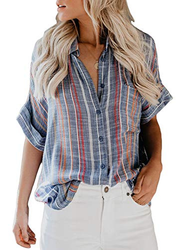 Womens Ladies Loose Short Sleeve Summer V Neck Button Down Stripes Blouse Casual Tops and Henley Shirts Medium 8 10 Blue ()