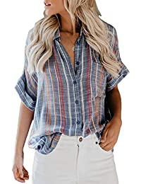 b5e8509a Women's V Neck Stripes Roll up Sleeve Button Down Blouses Tops
