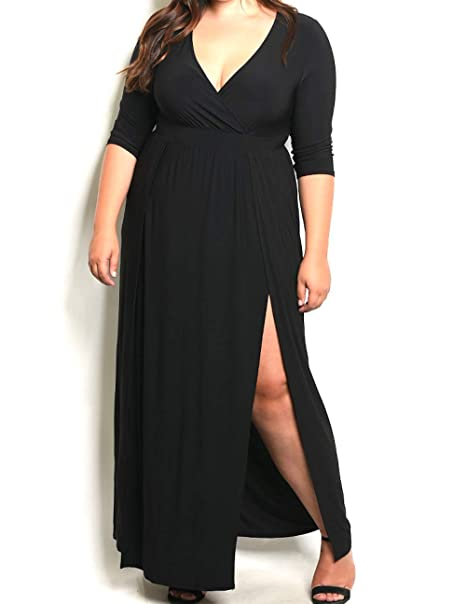 Star-Studded Plus Size Wrap Top Double Slit Jersey Maxi ...