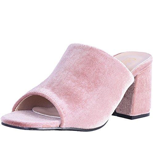 Catherine Malandrino Women's Block Heel Velvet Slide Sandals, Nude Velvet, Size 8.5 B(M) US' by Catherine Malandrino