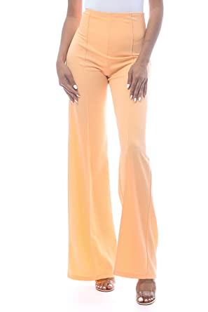 0ebf3c9daa Cemi Ceri Women's High Waist Bell Bottom Flare Pants, Small, Apricoat