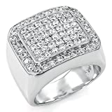 Mens Large Iced Out Wide Pave Cz Sterling Silver Band Ring