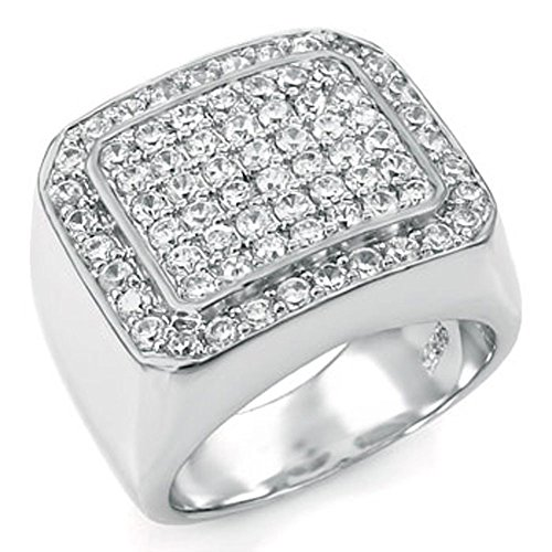 Mens Large Iced Out Wide Pave Cz Sterling Silver Band Ring by The Ice Empire Jewelry