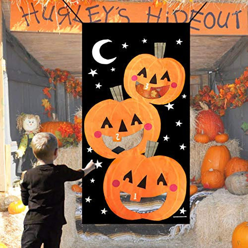Hicet Halloween Bean Bag Toss Game - 4 Durable Polyester Bean Bags Pumpkin Banner Set Outdoor for Kids Children Family Party Decorations ()