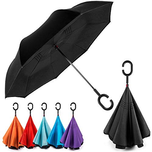 EEZ-Y Reverse Inverted Windproof Umbrella - Upside Down Umbrellas with C-Shaped Handle for Women and Men - Double Layer Inside Out Folding Umbrella (Best Fold Up Umbrella)