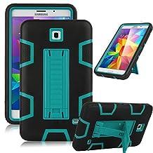 "Samsung Galaxy Tab 4 7.0 Case, Jwest [Kickstand] Full-body Rugged Hybrid Protective Dual Layer Design/Impact Resistant Bumper Case for Samsung Galaxy Tab 4 7.0"" inch T230 (Black+Blue)"